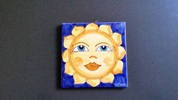Sun Ceramic Tile - 8 Inches X 8 Inches - Hand Painted - Wall Decor ...