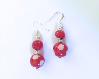 Kazuri Earrings, Red and White Ceramic Earrings