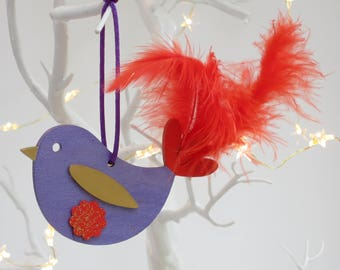 Hanging decoration, Wooden bird, Hand painted bird, Christmas tree decoration, Xmas decoration, Wooden Christmas decoration