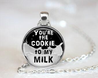 Milk and Cookies Necklace, Cookie Necklace, Milk Necklace, Yummy Cookie Quote Necklace, Best Girlfriend Gift, Cookies and Milk Gift Necklace