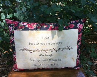 Whimsical Sister Pillow - Hand Embroidered Pillow - Room Accent - Country Decor - Farmhouse  - Sisterhood - Birthday gift for Sisters