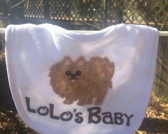 Personalized Pomeranian Puppy Bib