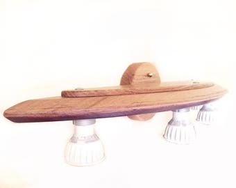 Clair De Lune vanity light, recycled wine barrel oak lid, wine barrel top
