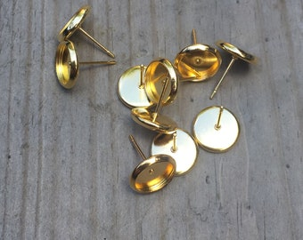 8mm gold plated earring settings 10 pieces