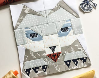 "Totem Wolf #22 Block PDF Paper Piecing Pattern 4"" x 9.5"" or 8"" x 19"" finished"