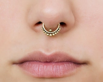 18g Tribal Septum Ring for pierced nose. septum piercing. septum jewelry. 18g septum. septum 18g. brass septum ring.tribal septum ring. rs39