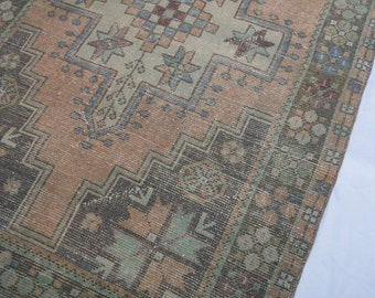 "8'x3'7"" Light Orange and Pink Vintage Turkish Rug with Seafoam Green"
