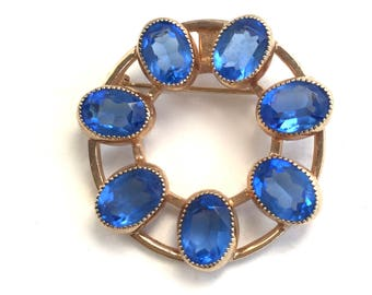 12kt GF Gold Vintage Pin, Catamore Brooch with Bright Blue Stones, 1950s Jewelry