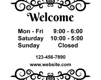 ID: BD00002; Custom Store Hours Vinyl Signs and Decals