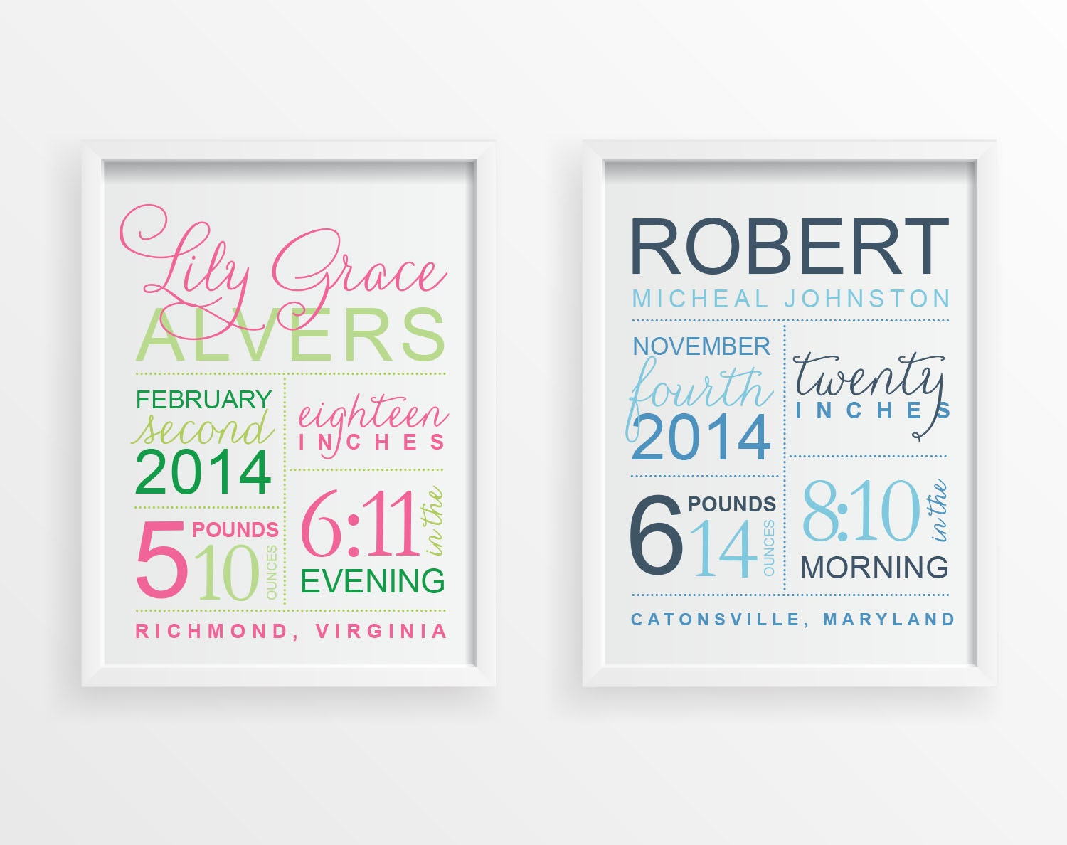 Baby birth stats personalized wall art custom announcement zoom negle Choice Image