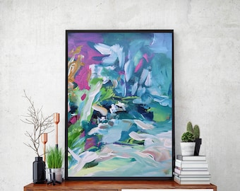 BLUE Pastel Colours ABSTRACT Art Print - Large Giclee Art Print Fine Art Poster -  Wall Art Abstract Art Prints - Bright Colourful Print