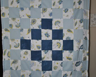 Blue Lily/Baby Quilt/Patchwork Ouilt