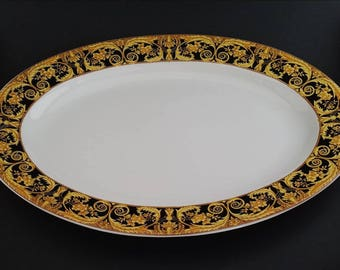 Beautiful Vintage 1990s Lynnu0027s Fine China 14  Oval Serving Platter In RARE Hard-To-Find Valetta Black Pattern (1997-1999) Floral and Scrolls & Lynn fine china   Etsy