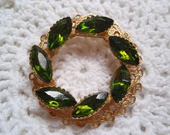 Vintage Rhinestone PIN Olive Green Marquise Shape Stones Wreath Christmas 1960's