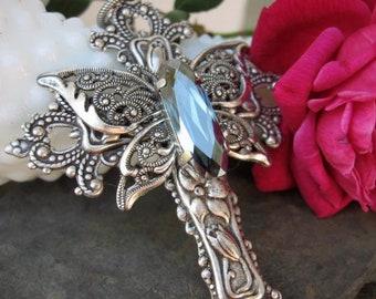 Steel Blue Butterfly Crystal Cross Cross Necklace - N190