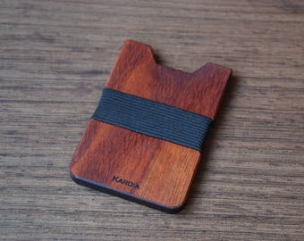 Wood Wallet, African Mahogany Wood, Minimalist Wallet, Card Holder, Boyfriend Gift, Front Pocket Wallet