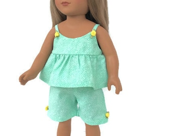 18 Inch Doll Clothes, Green and White Doll Pajamas, Doll Shorts and Cami, Summer Doll Clothes, Baby Doll Pajamas