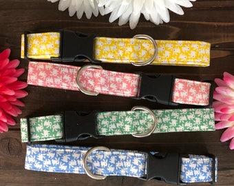 Dog collar, Easter dog collar, bunny dog collar, pastel dog collar, rabbit dog collar, spring dog collar, spring collar, easter collar