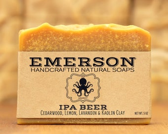IPA Beer Soap with Atlas Cedarwood • Vegan Soap, Palm Free Soap, All Natural Soap, Handmade Soap, India Pale Ale  Gift for Him, Zero Waste
