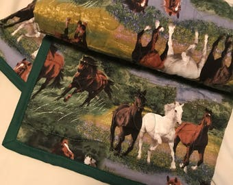 Green Quilted Horse Throw