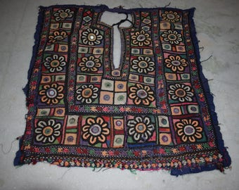 Indian Vintage Neck Yoke Embroidery OF Beads Work And Mirror work Handmade Applique Patch Sewing craft, cotton fabric neck yoke 77