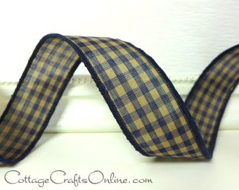 """Wired Ribbon, 1 3/8"""", Navy Blue and Beige Tan Gingham Check - TEN YARD ROLL -  """"Navy Tea Dye"""" Cotton Prim Fall Wire Edged Ribbon"""