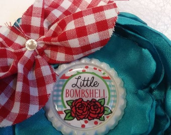 Rockabilly Style Flower Hair Clip Turquoise