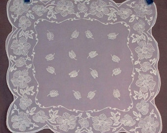 Sheer White Scarf with Raised Floral Pattern