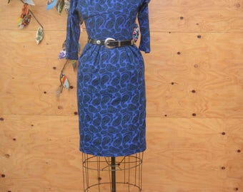 Vintage 50's Wool Paisley Blue Day Hourglass Dress SZ S