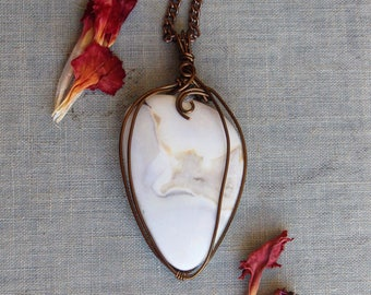 White Jasper Vintage Brass Pendant Handmade Necklace