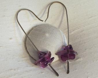 Earrings: Hand Forged Long Sterling Silver Shepherd's Hooks with Three Amethyst Gemstone Beads