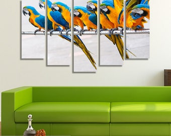 LARGE XL Parrots Standing in a Row Canvas Print A flock of Colorful Birds on a Wire  Canvas Wall Art Print Home Decoration - Stretched