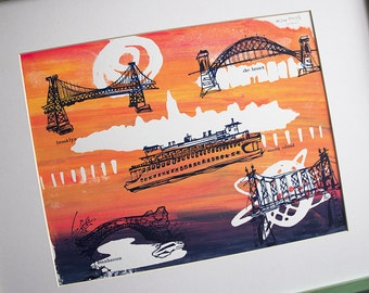 THE FIVE BOROUGHS #57 | New York City travel sketches over bright sunset colors, a handmade original silkscreen print by Kathryn DiLego