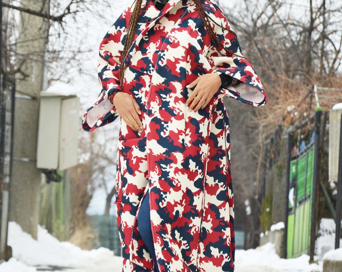 Red Zipper Camouflage Neoprene Coat, Asymmetrical Winter Coat, Maxi Pocket Coat, Extravagant Sleeves by SSDfashion