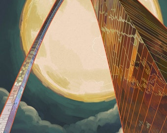 St. Louis, Missouri - Gateway Arch and Moon (Art Prints available in multiple sizes)