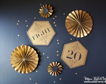 Hexagon Art Deco Wedding Table Numbers Sets - Gold & Black Art Deco Wedding, Gatsby Wedding, Vintage Wedding ( Set of 12 or 24)