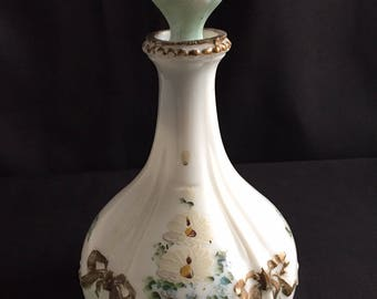 Victorian Milk Glass Toilet Water or Cologne Bottle Handpainted Flowers
