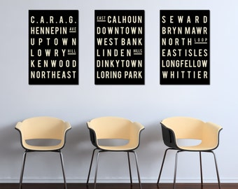 MINNEAPOLIS Art - Typography Sign - Minnesota Poster - City Map Print - Living Room Decor - Gift - Modern - Set of 3