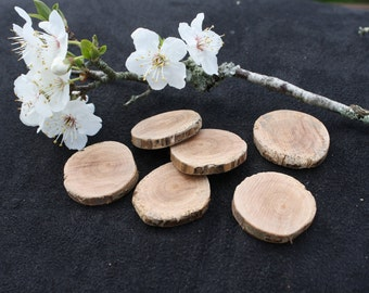 Wooden Button Bases or Craft Discs 25mm Diameter Lightly Sanded - Hand Made from Locally Grown Nashi Pear Tree