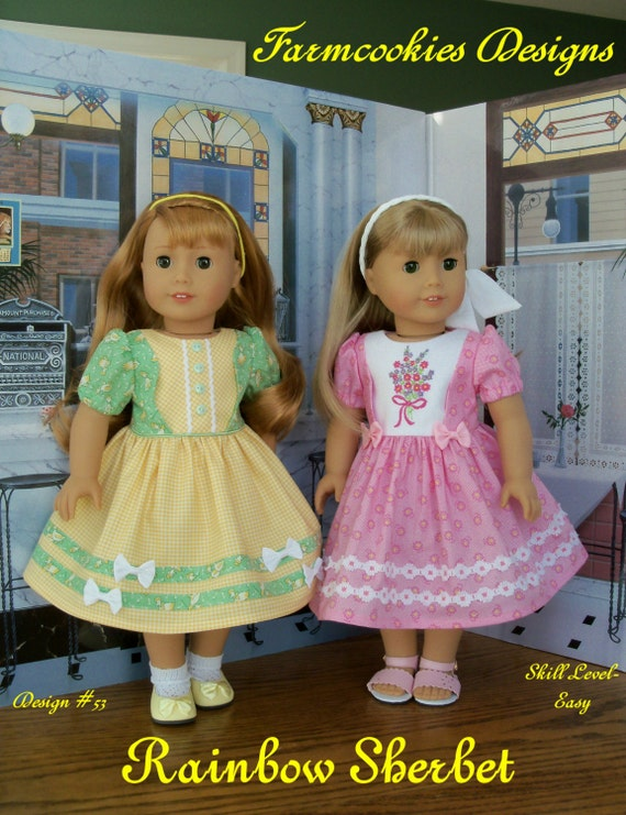 """PDF Sewing Pattern with Optional Embroidery Fits American Girl ® Doll / RAINBOW SHERBET /  Sewing Pattern for 18"""" Dolls"""