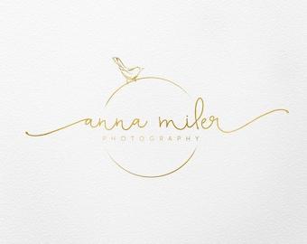 bird logo photography logo wedding planner logo gold logo premade logo  script logo photography logo and watermark custom branding kit 002