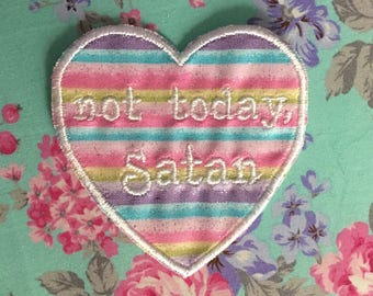 """Embroidered """"not today, Satan"""" Iron-On Sew-On Heart Patch on Pastel Rainbow Sparkle Fabric ~ Cute QT DIY Feminist Kawaii"""