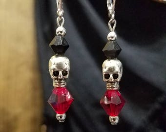 FREE SHIPPING skull earrings /biker earrings / rocker earrings / biker / skulls / Halloween earrings / Gothic earrings
