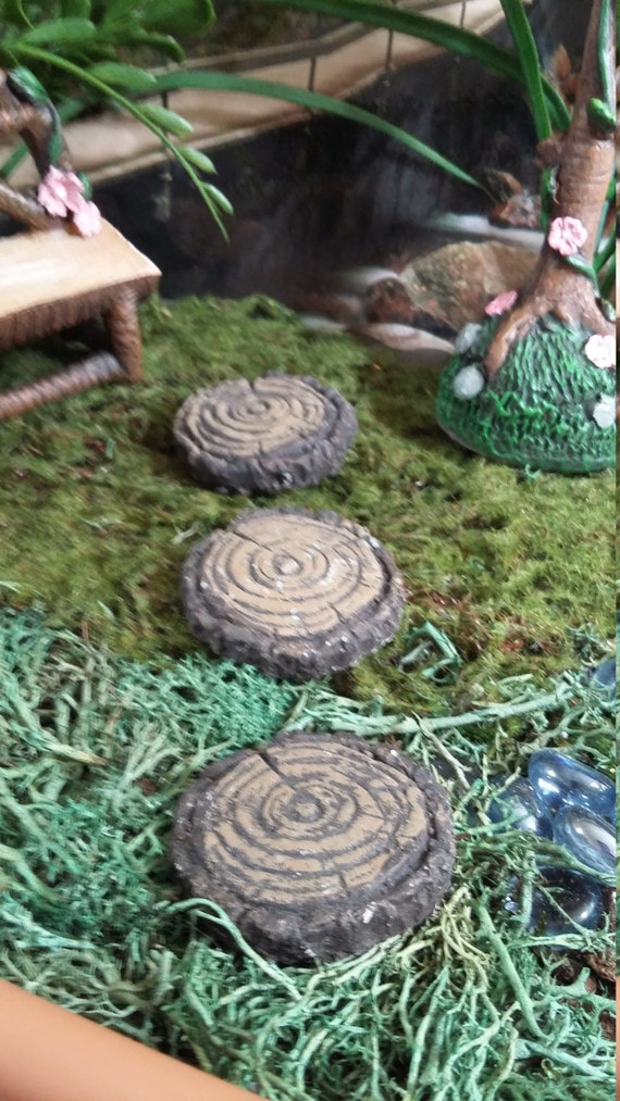 Fairy garden miniature set of three wood slice stepping stones fairy garden miniature set of three wood slice stepping stones resin for your fairy garden fairy garden accessories stepping wood slices from workwithnaturefo