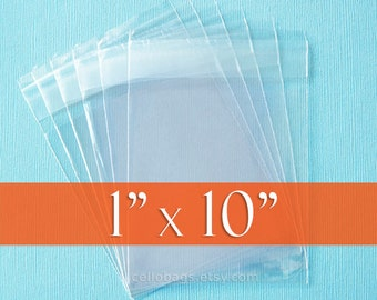 """100 Resealable 1x10 inch Clear Cello Bags, 1.8 mil Thick Cellophane OPP Poly Plastic Packaging, Acid Free (1"""" x 10"""") with Lip Self Adhesive"""