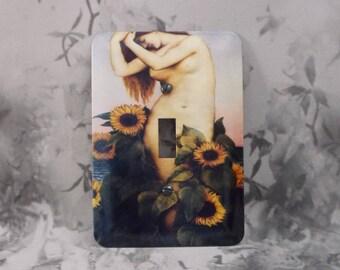 Metal Clytie Light Switch Cover - 1T Single Toggle  - Sunflower around Clytie