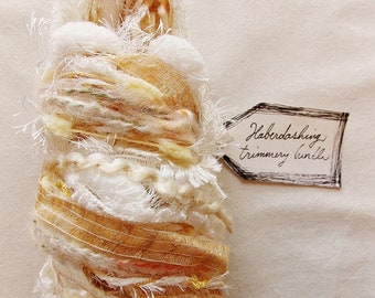 Frozen Custard vanilla linen ribbon pom garland cream fringe Novelty Fiber Yarn Sampler Bundle
