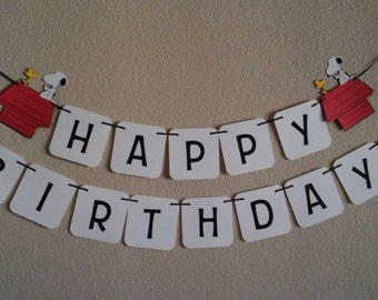 "Snoopy ""The Peanuts"" Happy Birthday Banner. Free shipping USA. Can be personalized. Its a girl or boy banner. I am 1 or 2,3 banner"