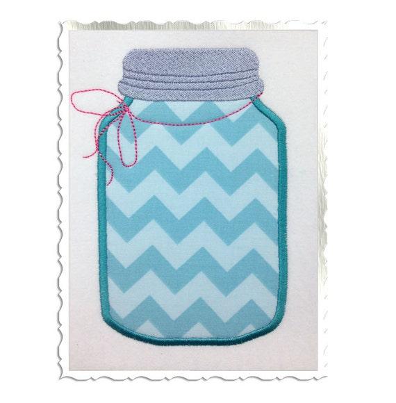 Applique Mason Fruit Jar Machine Embroidery Design - 3 Sizes from ...