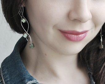 Curved minimalist long earrings Modern silver hoops Twisted dangle Urban jewelry Simple earrings Pyrite waved drop Birthday Gift for women